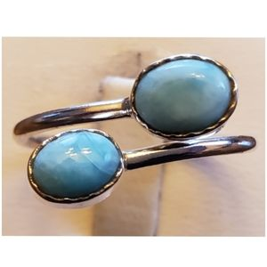 Genuine Caribbean Larimar bypass Ring Size 9